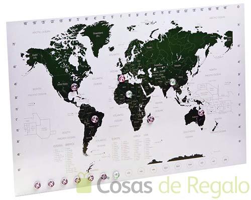 Planificador de viajes magnético con forma de plano del mundo