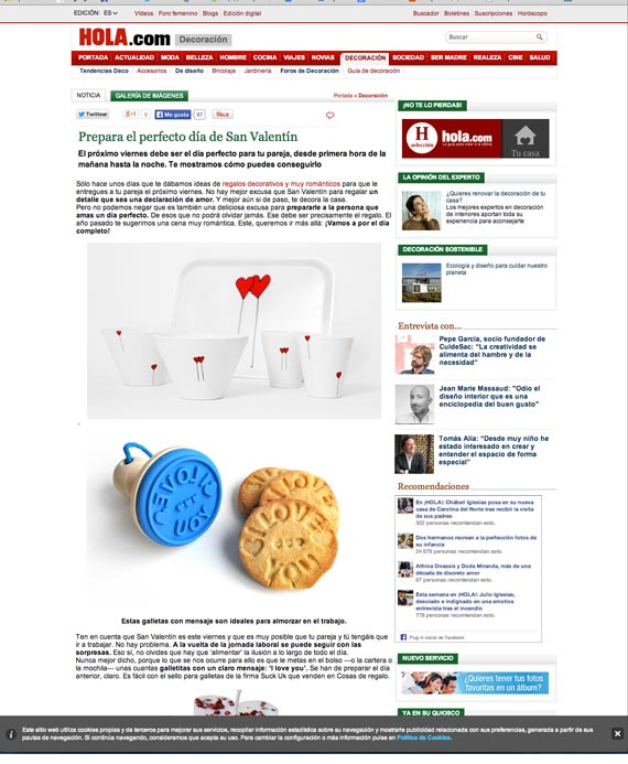 Web de Hola.com (11 de febrero de 2014)