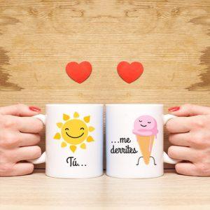 tazas de desayuno Tú me derrites, tazas románticas