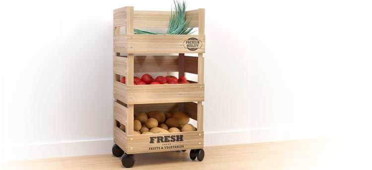 Verdulero de madera con ruedas, práctico y cómodo