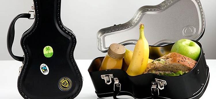 Fiambrera con forma de guitarra eléctrica, rock para tu almuerzo