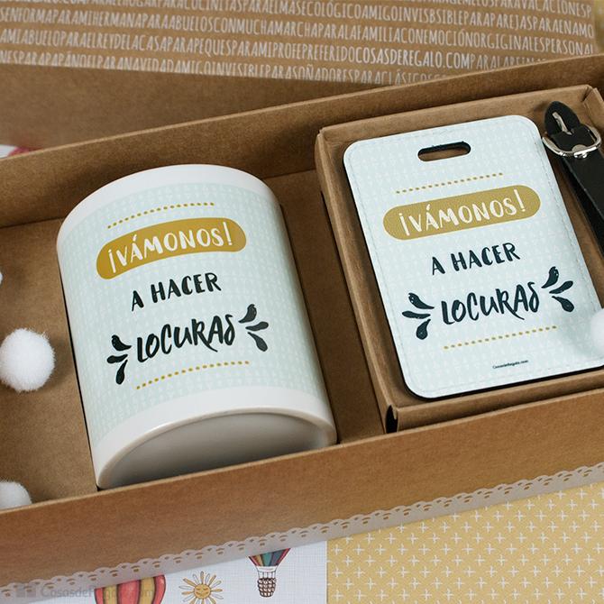 Pack de regalos taza y etiqueta de viaje vamos a hacer locuras