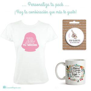 Pack para mamá formado por camiseta,taza y espejito de bolsillo,regalo para el día de la madre
